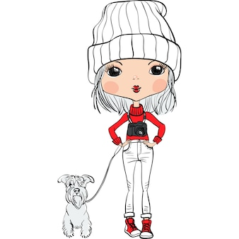 Cute hipster fashion travelling girl in a hat with a dog and a camera