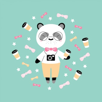 Cute hipster panda with coffee and camera