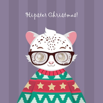 Cute hipster snow leopard in ugly christmas sweater