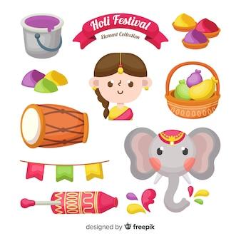 Cute holi festival element pack