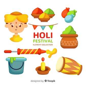 Cute holi festival element pack