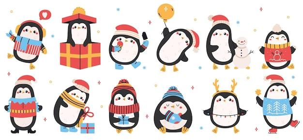 귀여운 휴가 펭귄. 크리스마스 손으로 그린 펭귄, 크리스마스 휴일 겨울 펭귄 캐릭터는 벡터 삽화 세트를 분리했습니다. 재미있는 휴일 펭귄. 휴일에 스카프에 춤추는 캐릭터 새