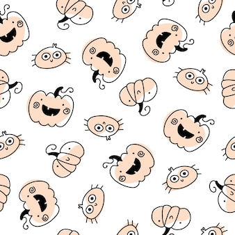 Cute holiday pumpkins and spider seamless halloween pattern in simple hand drawn childish cartoon
