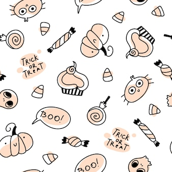 Cute holidays seamless halloween pattern in simple hand drawn childish cartoon doodle style