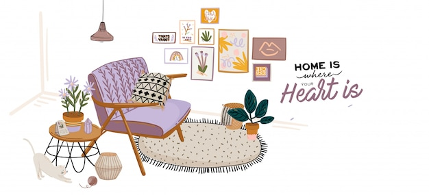 Cute home interior background. motivational quote lettering. flat vector illustration in trendy style