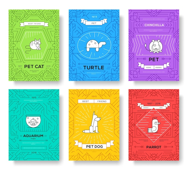 Cute home pets thin line brochure cards set. animal template of flyear, magazines, posters