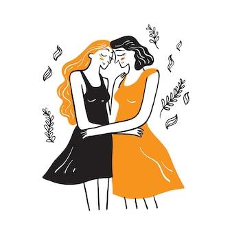 かわいい同性愛者のカップルは抱き合って、お互いにキスします。