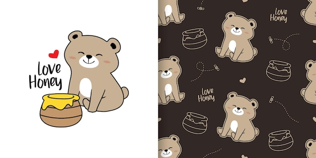 Cute honey bear with brown seamless pattern template