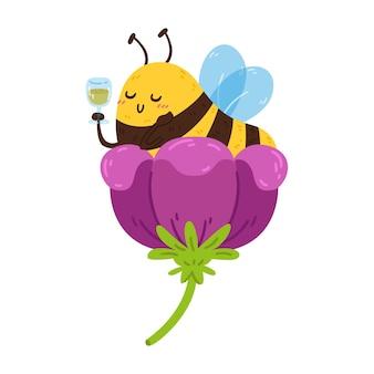 蜜のワイングラスと花のかわいいミツバチ休憩中に休んでいる縞模様の昆虫