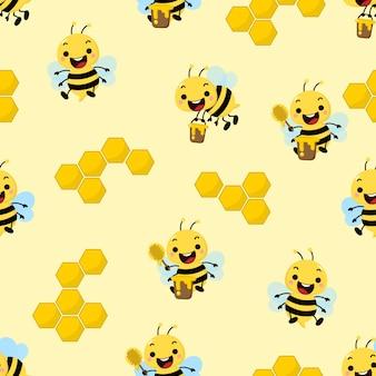 Cute honey bee seamless pattern
