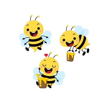 Cute honey bee vector