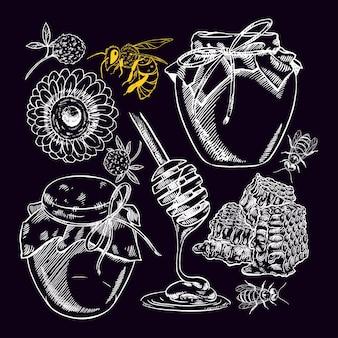 Милый медовый набор. банки меда, пчелы, соты. рисованная иллюстрация