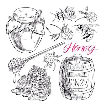 귀여운 꿀 세트. 꿀, 벌, 벌집의 항아리. 손으로 그린 그림