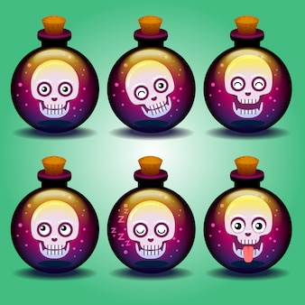 Cute horror emoticons skull in a bottle