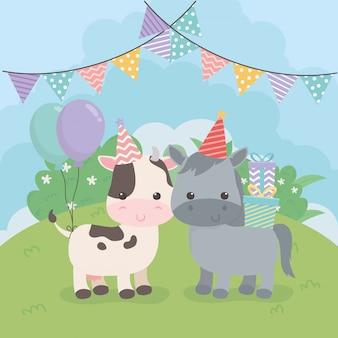 생일 파티 장면에서 귀여운 전채와 소