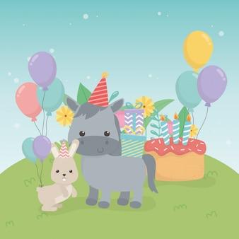 생일 파티 장면에서 귀여운 전채와 토끼