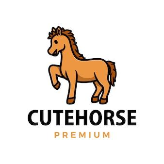Симпатичная лошадь мультфильм логотип значок иллюстрации