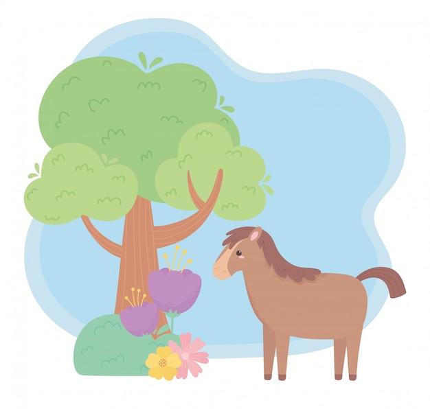 自然の風景の中のかわいい馬の花木草漫画の動物