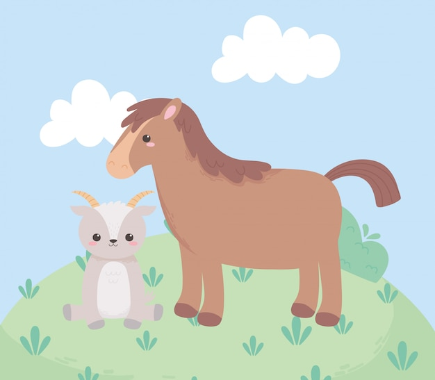 Cute horse and goat grass bush cartoon animals in a natural landscape
