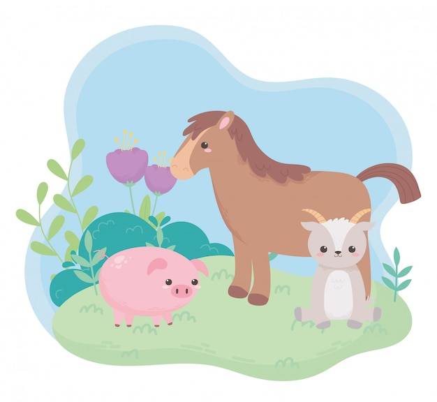 自然の風景の中のかわいい馬山羊貯金箱花ブッシュ草漫画の動物