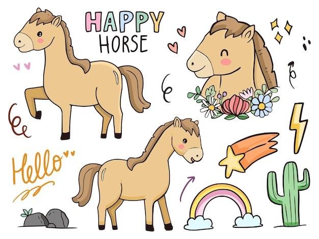子供と赤ちゃんのためのかわいい馬のイラスト描画漫画