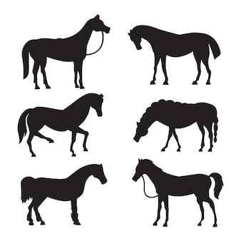 さまざまなポーズのデザインのかわいい馬。立っている動物の馬のコレクション、異なるシルエット。