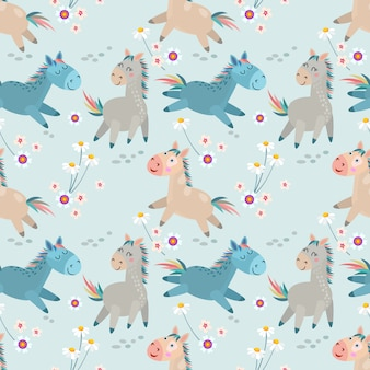 Cute horse running in  flowers garden seamless pattern.