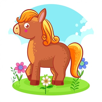 Cute horse standing on a flower meadow.