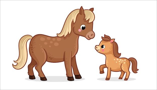 漫画スタイルの白い背景の上の子馬とかわいい馬