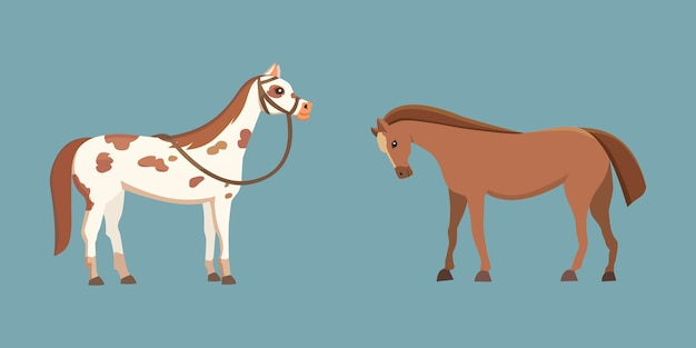 さまざまなポーズのデザインのかわいい馬