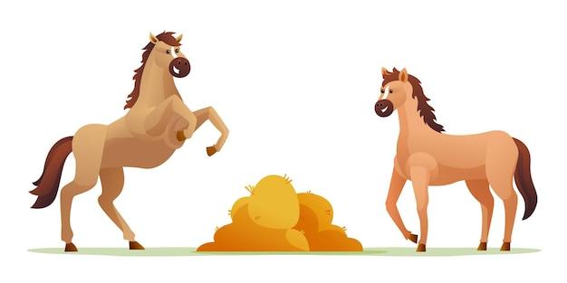 Симпатичные лошади с сеном мультфильм набор иллюстраций