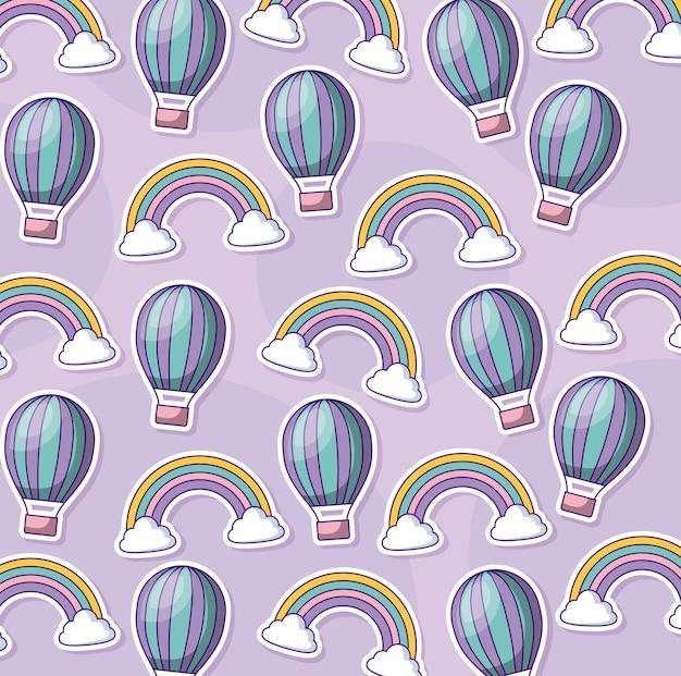 かわいい熱気球と虹の背景