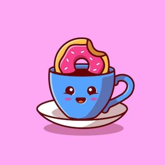 Cute hot coffee with doughnut cartoon