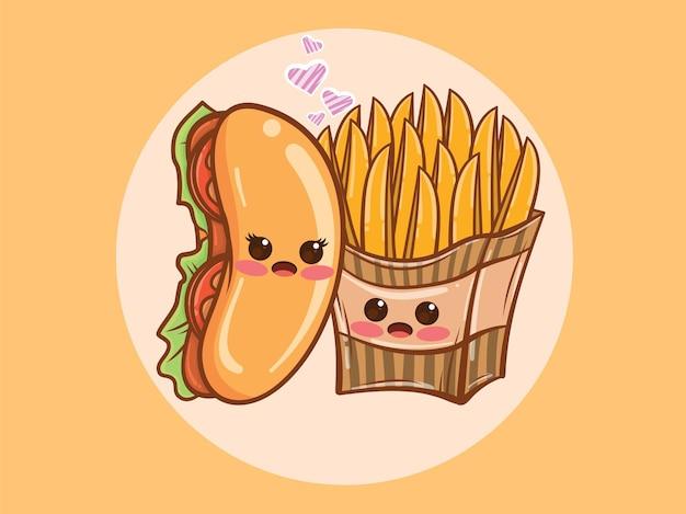 귀여운 핫도그와 튀긴 감자 커플 개념. 만화 캐릭터와 그림.
