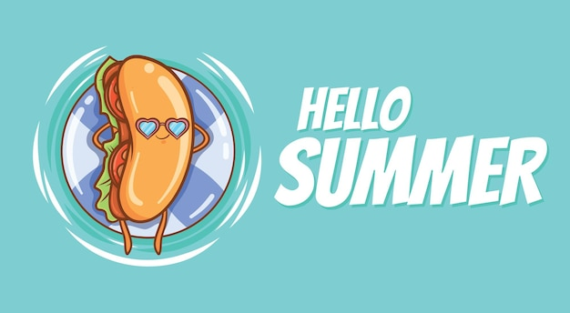 Cute hot dog floating relax with a summer greeting banner