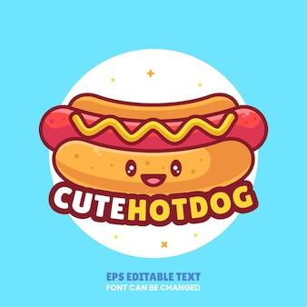Cute hot dog logo vector icon illustration premium fast food cartoon logo in flat style