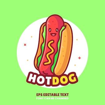 Симпатичный хот-дог логотип вектор значок иллюстрации премиум фаст-фуд мультфильм логотип в плоском стиле