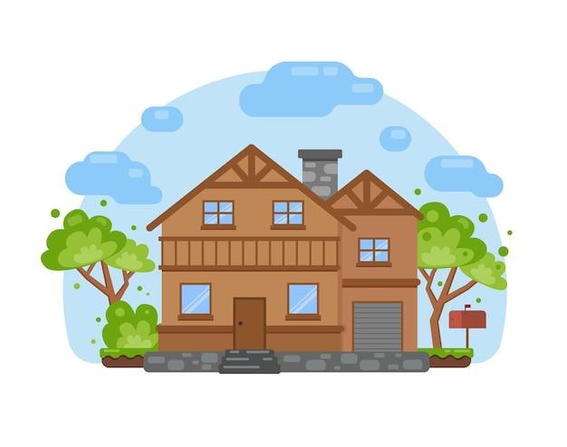 Милый дом в мультяшном стиле, векторные иллюстрации, недвижимость, жилье, аренда, инвестиции, иллюстрация концепции управления недвижимостью.