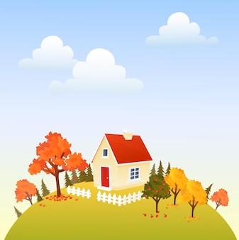 가을 시간에 사과 나무와 가을 언덕에 귀여운 집