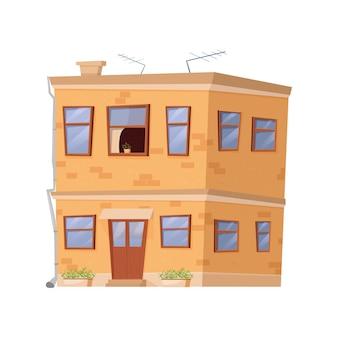 흰색 배경에 고립 된 만화 스타일의 귀여운 집 교외 별장