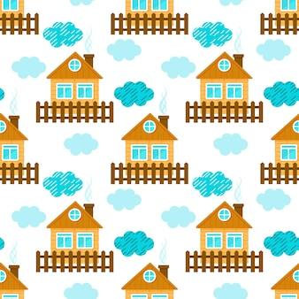 かわいい家と雲。シームレスなパターン。漫画のスタイル。ベクトルイラスト。