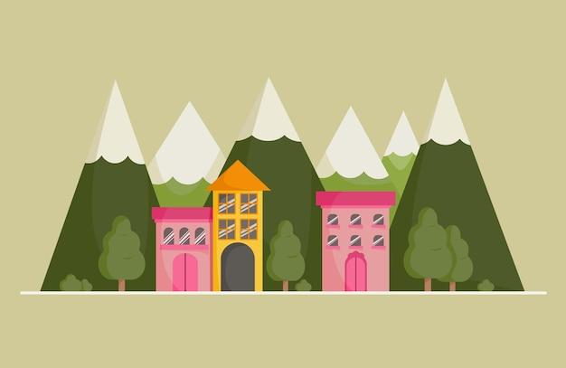 귀여운 집과 산. 배너, 인사말 카드 및 포스터에 대 한 봄과 여름 배경. 별장이 있는 풍경. 평면 벡터 일러스트 레이 션.