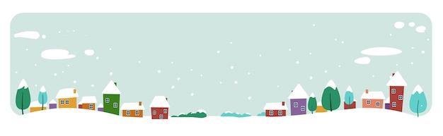 Cute houses snowy town on winter merry christmas happy new year holiday celebration concept greeting card horizontal banner vector illustration