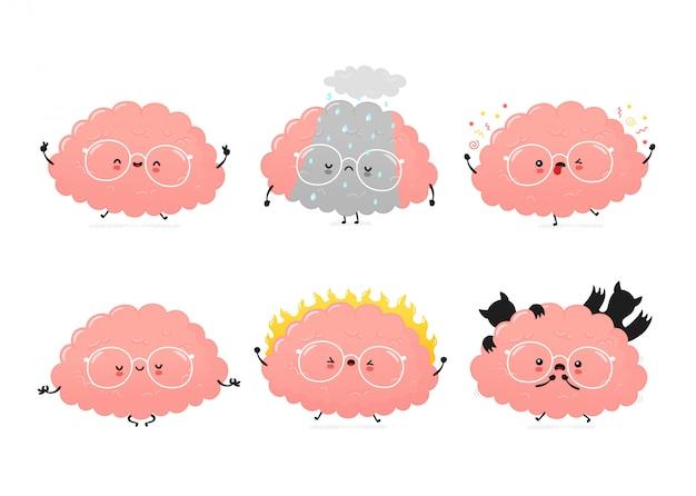 Симпатичные человеческий мозг эмоции установлены. дизайн значка иллюстрации персонажа из мультфильма. изолированный
