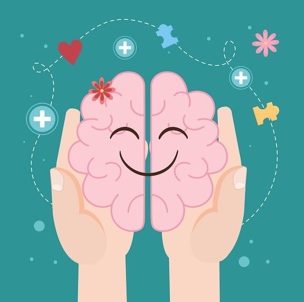 Cute human brain in hands cartoon