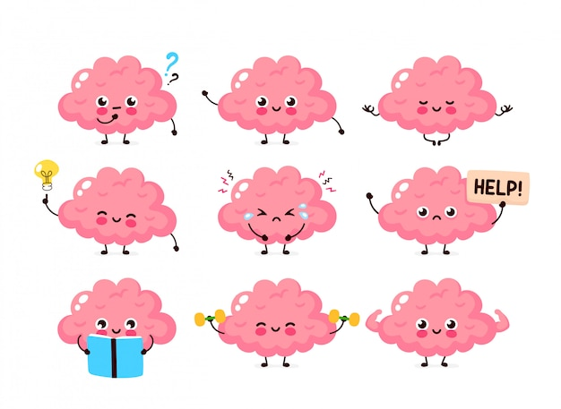 Милый человеческий мозг установлен. здоровый и нездоровый человеческий орган. современный стиль мультфильм характер иллюстрации дизайн иконок. питание, поезд, защита, уход за разумом, концепция мозга