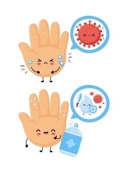 かわいい人間の手が消毒スプレーボトルを消毒します。漫画キャラクターイラストアイコンデザイン。白い背景で隔離