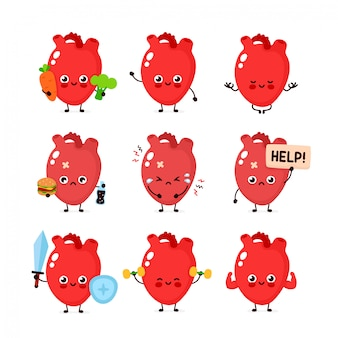 Cute human heart organ set. healthy and unhealthy human organ.