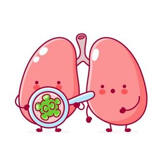 Симпатичный персонаж органа легких человека смотрит на бактерии в лупе
