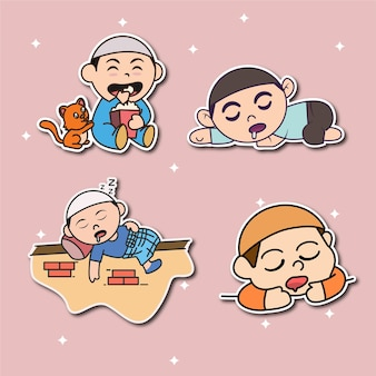 Cute human stickers collection illustration